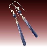 Kyanite Sterling Silver Long Earrings