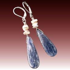 Blue Kyanite And Pearl Earrings