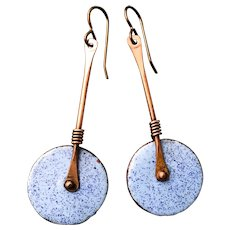 Blue Long Enamel Earrings