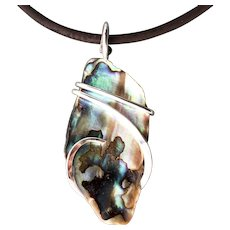 Abalone Shell Sterling Silver Wrapped Pendant Necklace