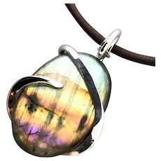 Rainbow Labradorite Sterling Silver Wrapped Pendant Necklace