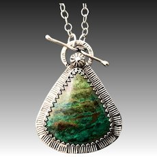 Parrot Wing Chrysocolla Sterling Silver Pendant Necklace