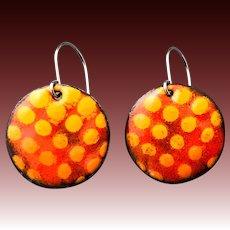 Colorful Red Orange Enamel Earrings