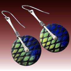 Sterling Silver Abstract Enamel Earrings