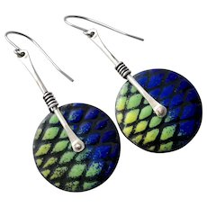 Sterling Silver Abstract Enamel Earrings