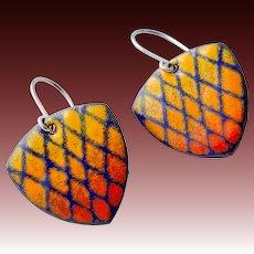 Colorful Textured Enamel Earrings