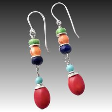 Red Coral Turquoise Lapis And Spiny Oyster Sterling Silver Earrings