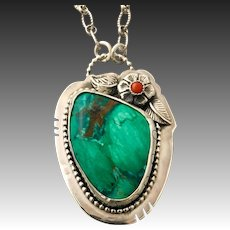 Parrot Wing Chrysocolla  And Red Coral Sterling Silver Pendant Necklace