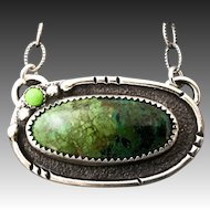 Chrysocolla And Green Turquoise Sterling Silver Pendant Necklace