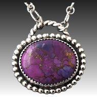 Purple Turquoise Sterling Silver Pendant Necklace