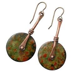 Green And Rust Copper Enamel Earrings