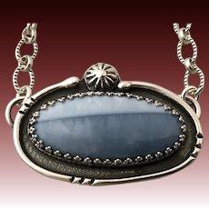 Sterling Silver Owyhee Blue Opal Pendant Necklace