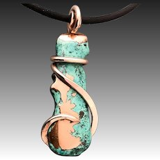 Sculptured Copper Wrapped Pendant