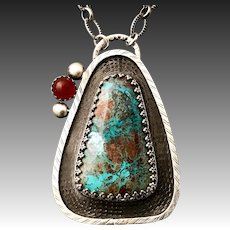 Chrysocolla And Carnelian Sterling Silver Pendant Necklace