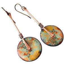 Copper Abstract Enamel Earrings