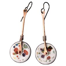 Copper Splatter Enamel Earrings