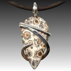 Poppy Jasper Sterling Silver Wrapped Pendant Necklace