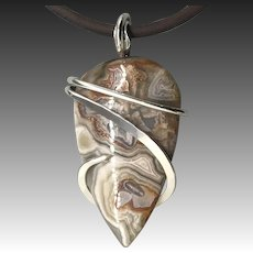 Crazy Lace Agate Sterling Silver Wire Wrapped Pendant Necklace
