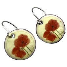 Enamel Poppy Earrings
