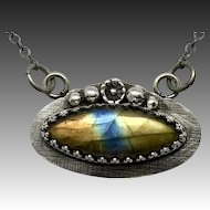 Rainbow Labradorite Sterling Silver Pendant Necklace