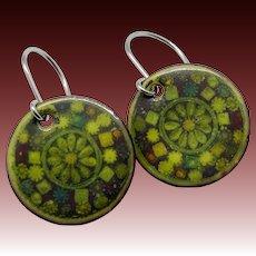 Green Enamel Earrings