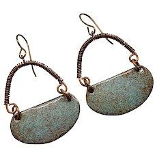 Rustic Blue And Brown Enamel Earrings