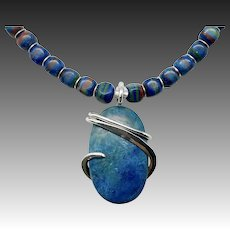 Rainbow Calsilica Necklace With Chrysocolla Sterling Silver Wrapped Pendant