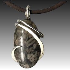 Snail Turritella Agate Wire Wrapped Pendant Necklace