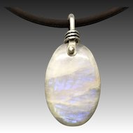 Moonstone Sterling Silver Wire Wrapped Pendant Necklace