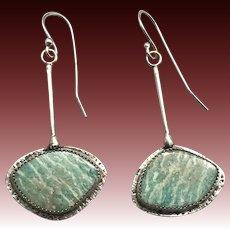 Amazonite Sterling Silver Asymmetrical Earrings