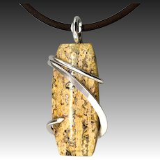 Yellow Poppy Jasper Sterling Silver Pendant Necklace