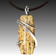 Yellow Poppy Jasper Sterling Silver Wrapped Pendant Necklace