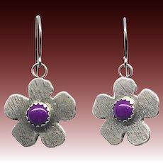 Sugilite Sterling Silver Flower Earrings