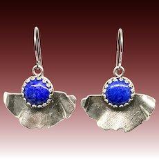 Lapis Sterling Silver Ginkgo Earrings