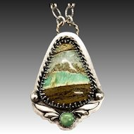 Variscite Sterling Silver Pendant Necklace