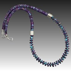 Purple Turquoise Sterling Silver Necklace