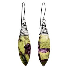 Green And Purple Stichtite Sterling Silver Earrings