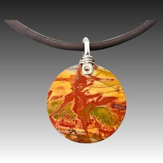 Cherry Creek Jasper Sterling Silver Wrapped Pendant Necklace