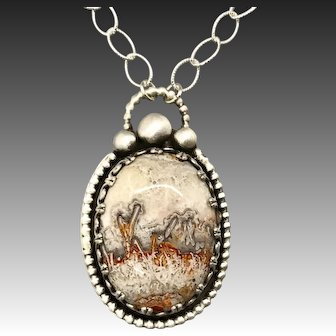Crazy Lace Agate Sterling Silver Pendant Necklace