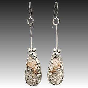 Crazy Lace Agate Sterling Silver Earrings