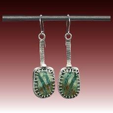 Rustic Amazonite Sterling Silver Earrings