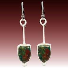 Rustic Malachite Chrysocolla Sterling Silver Earrings
