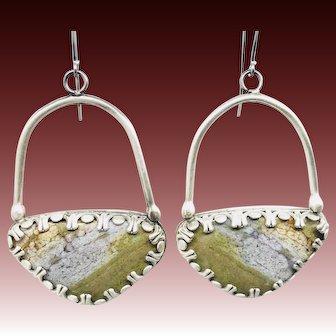 Green Ocean Jasper Sterling Silver Earrings