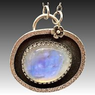 Sterling Silver Moonstone Pendant Necklace