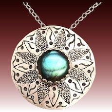 Stamped Sterling Silver Labradorite Pendant Necklace
