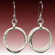 Textured Sterling Silver Three Hoop Earrings