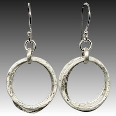 Textured Sterling Silver Three Hoop Earrings
