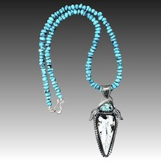 White Buffalo Turquoise Sterling Silver Southwestern Necklace