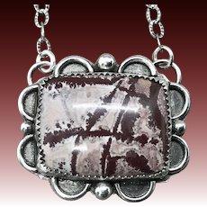 Sonoran Dendrite Rhyolite Sterling Silver Pendant Necklace