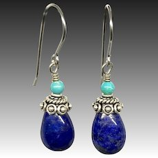 Lapis And Turquoise Sterling Silver Earrings